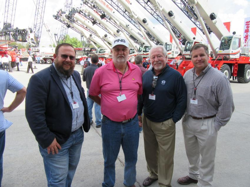 (L-R): Paris Liles of Holt Crane & Equipment, joined Jimmy Frye of 5J Trucking; Chuck Newcomb of Certified Crane & Rigging Services; and David Worsham of Holt Crane & Equipment, to take in the cranes at the event.