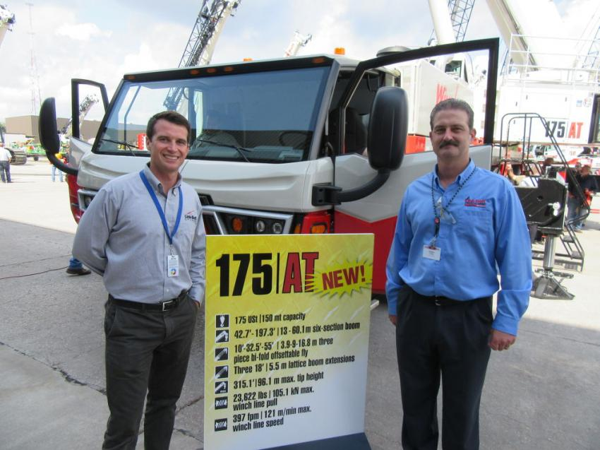 Link-Belt's Casey Smith (L) spoke with Dallas Coffey of Link-Belt Mid-Atlantic about the introduction of Link-Belt's new 175|AT all-terrain crane at the event.