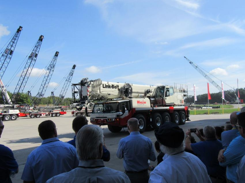 The crowd of attendees gets a first look at Link-Belt's all new 175|AT all-terrain crane.