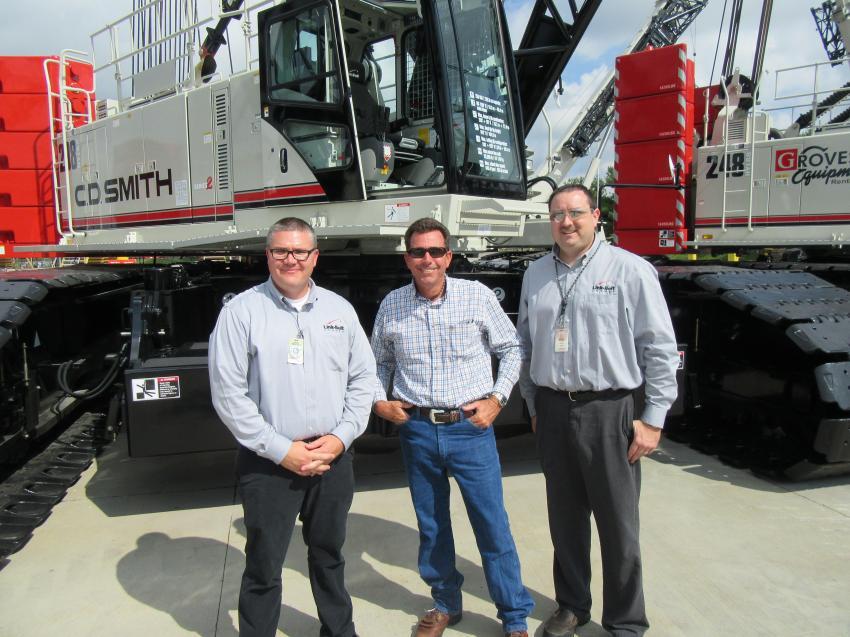 (L-R): Link-Belt's Joel Hicks and JP Jones speak with Corey Roberts of Zeiger Crane.