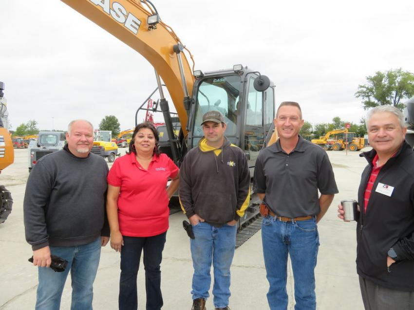 (L-R): Randy Wacker, vice president sales and marketing, Victor L. Phillips Co.; Mary Smith, rental manager, VLP; Vince DeLuca and Rick White, Kissick Construction; and David Leavitt, vice president finance, VLP.