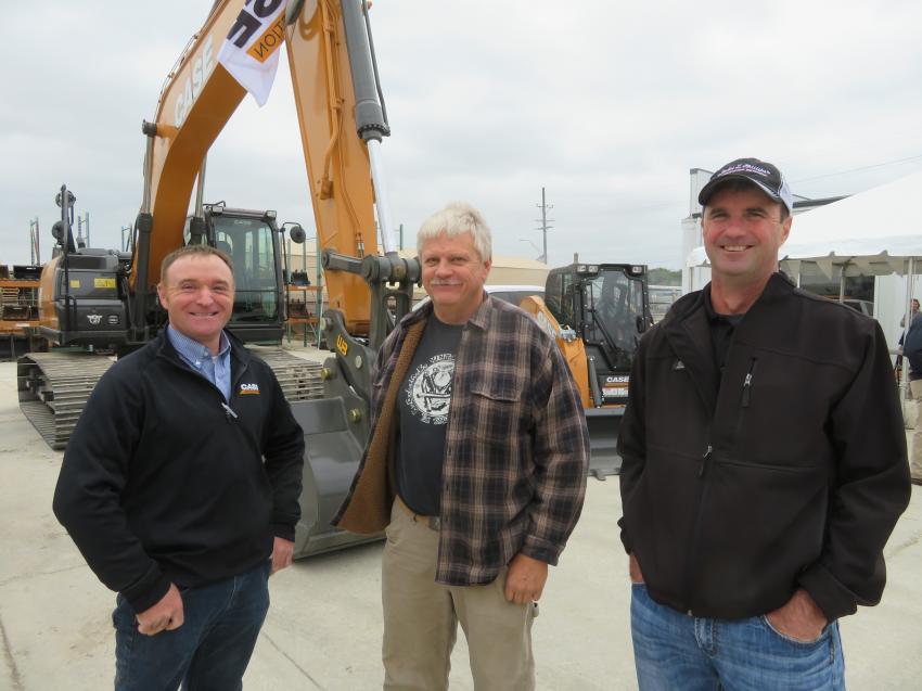 (L-R): Dannon Scott, product specialist, Case Construction; Jim Buchner, Buchner Construction; and Steve Goertzen, sales representative, VLP.