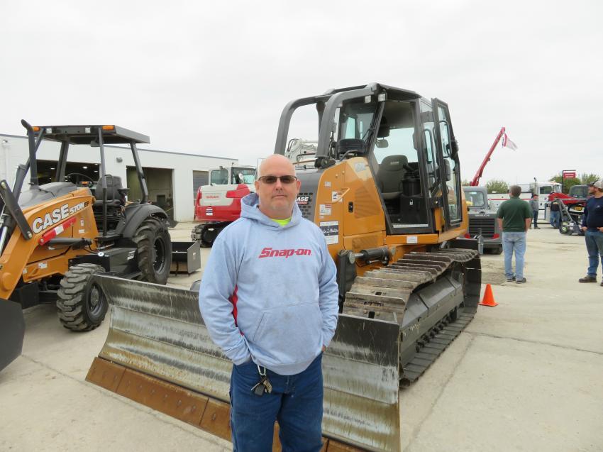 Scott Sanders, Blue Nile Construction, looks over this Case 850M dozer.