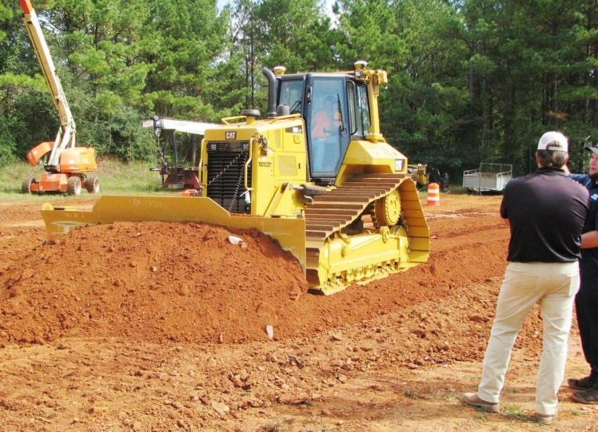 The Cat D6N LGP with integrated grade control was among the favorite machines for test operating by many of the contractors in attendance