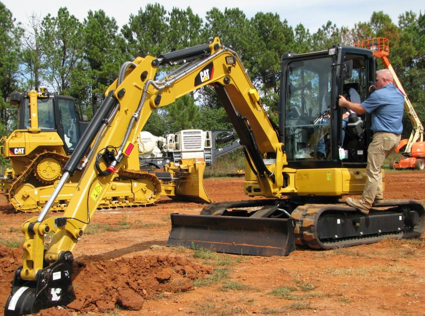 Demo time on the mini-excavators was almost as popular as the Grade Control dozers.