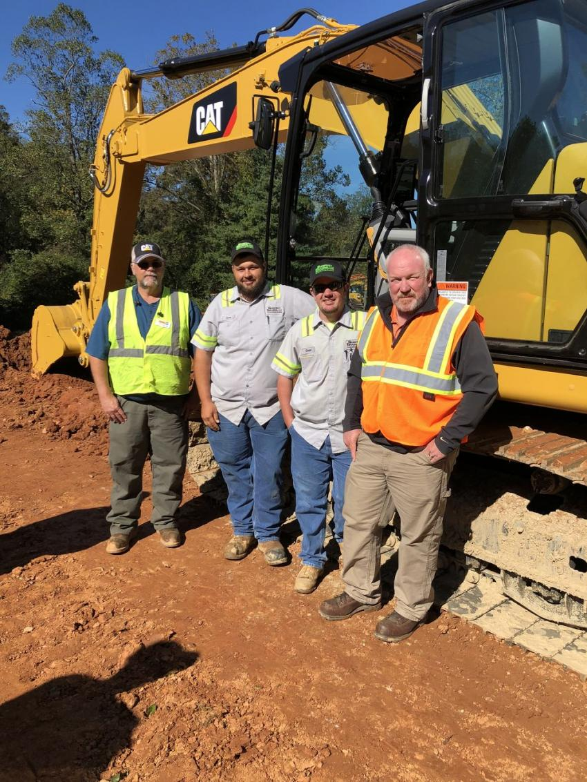 (L-R) are Phil Greene, Carolina Cat; Chris Greggory and Chase Godfrey, both of Godfrey Grading in Black Mountain, N.C.; and Charlie Harwood, Carolina Cat.
