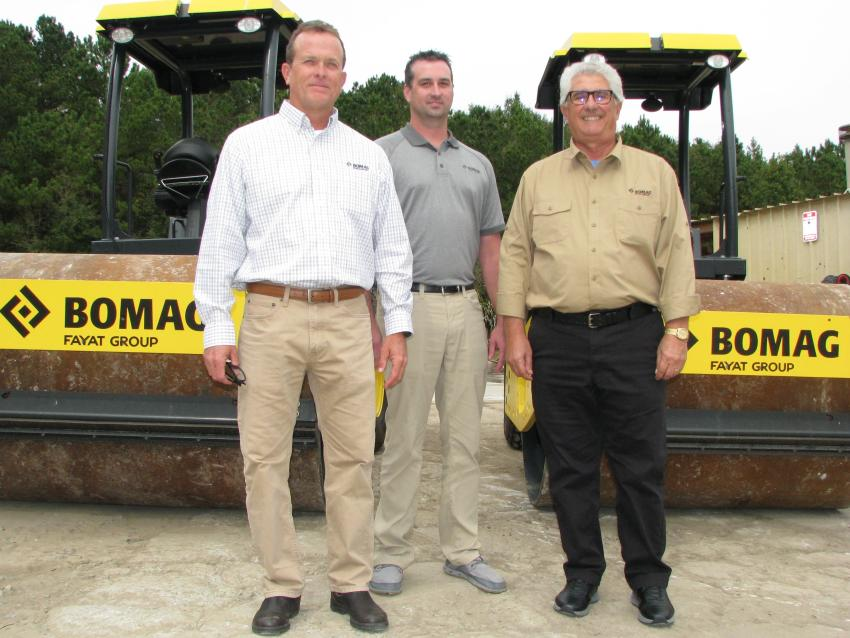 Proudly displaying a pair of Bomag BW177D compactors at the open house (L-R) are Steve Chancey, Daniel Jamieson and Geoff Orlando of Bomag.