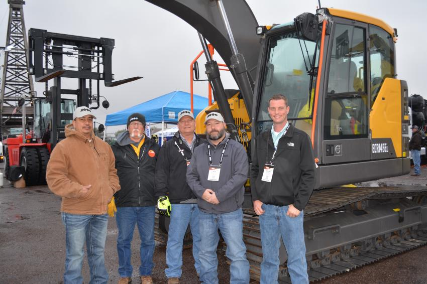 Representatives of ASCO Equipment were on hand to promote their full line of Volvo construction equipment.  (L-R) are Victor Loya, Jimbo Fine, Mike Pallet, Nick Van Cleave and Shelby Whitley, all of the Midland and Odessa ASCO branches.