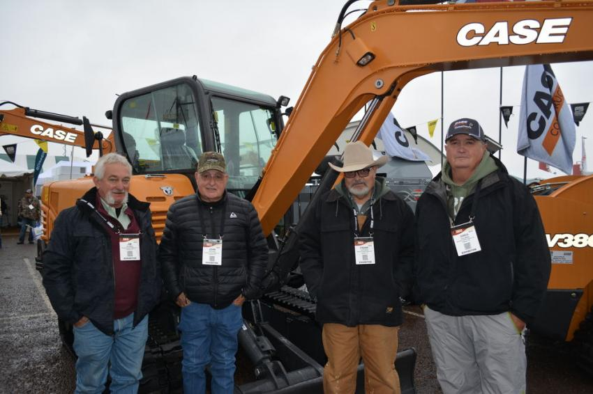 Case Construction Equipment is represented in parts of the Permian Basin by Permian Tractor Company. Representatives at the show are (L-R): Jim Miller, John Kelly (dealer principal), Frank Miller and Greg Miller.