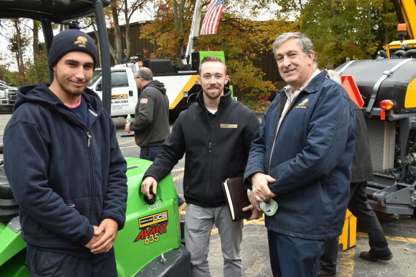Municipalities as well as property management firms can dramatically improve  efficiency with the Avant compact machine.  (L-R): With the Avant 635 is Nolan Kiley of Newton Cemetery Corporation; Patrick MacLean of Northland JCB; and Don Casali of Newton Cemetery Corporation.