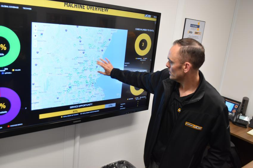 New technology from JCB allows the service department to track all machines in the field, be aware of who needs service, and to do fundamental diagnostics before dispatching service trucks.