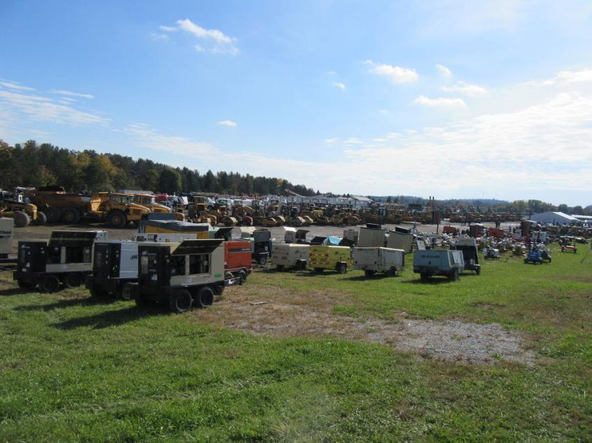 Rows of equipment filled the 20-acre auction site for Ritchie Bros.' Frankfort Springs, Pa., auction.