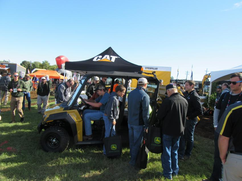 Caterpillar's new 5-Seat UTV attracted a lot of attention at the company's outdoor equipment display and demo area.