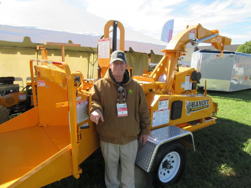 Mike Bourke of the local Bandit dealership, Louisville Tractor, lent a hand at the Bandit Equipment display at the show.