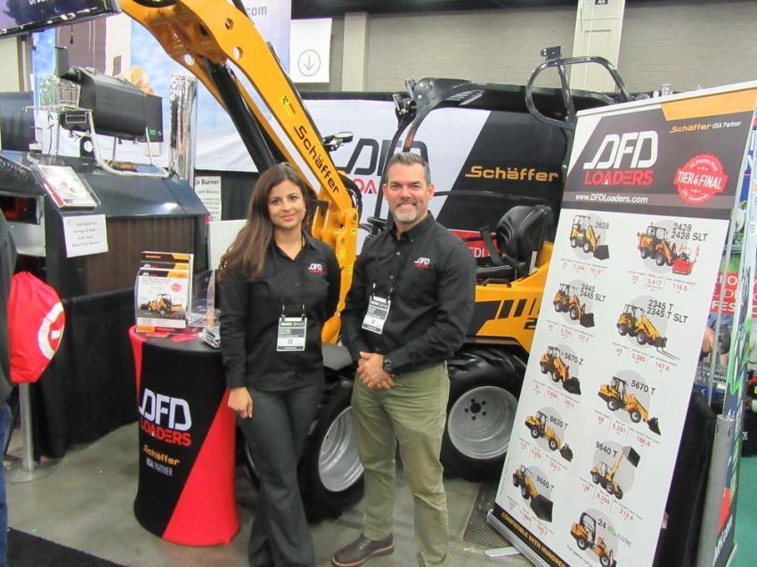 Rachel Boutet and David Font of DFD Loaders chose GIE+Expo to help serve as the U.S. launch of German company Schäffer's brand of compact and telescopic articulated loaders.