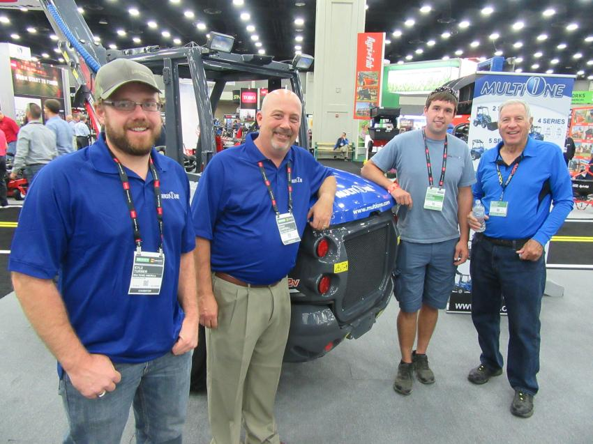 (L-R): MultiOne's Kyle Turner and Doug Campbell were pleased that Ryan Barber of Commercial Property Maintenance, Knoxville, Tenn., purchased a 7.3S mini-loader at the show. They are joined by Benny Beverly of Stumped, also based in Knoxville.