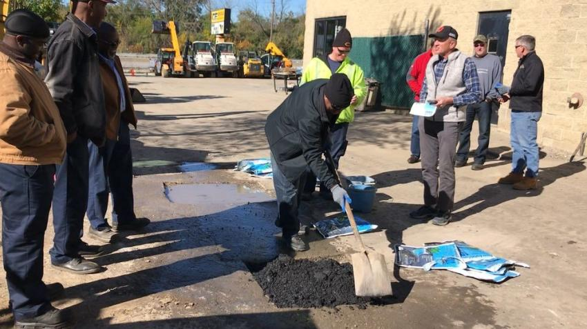 (L-R) are Sam Cole, Jeff McBride and Commissioner Art Craigen of the Waukegan Township Highway Department; Ben Savaglio of the Oak Brook Street Department; and Mark Kamin of Kamin Landscaping.
