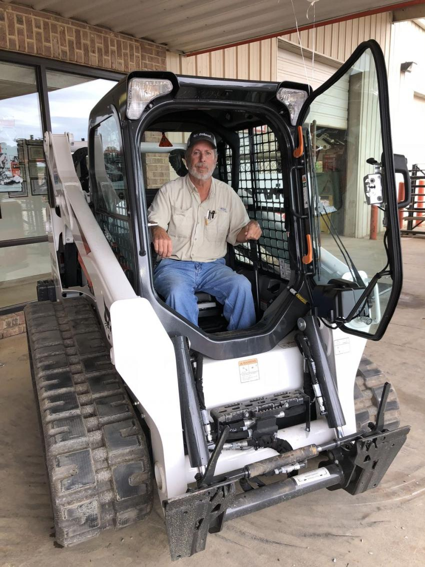 Richard Porter of Porter Grading in Peachland, N.C., in the cab of the popular Bobcat 595 compact track loader.