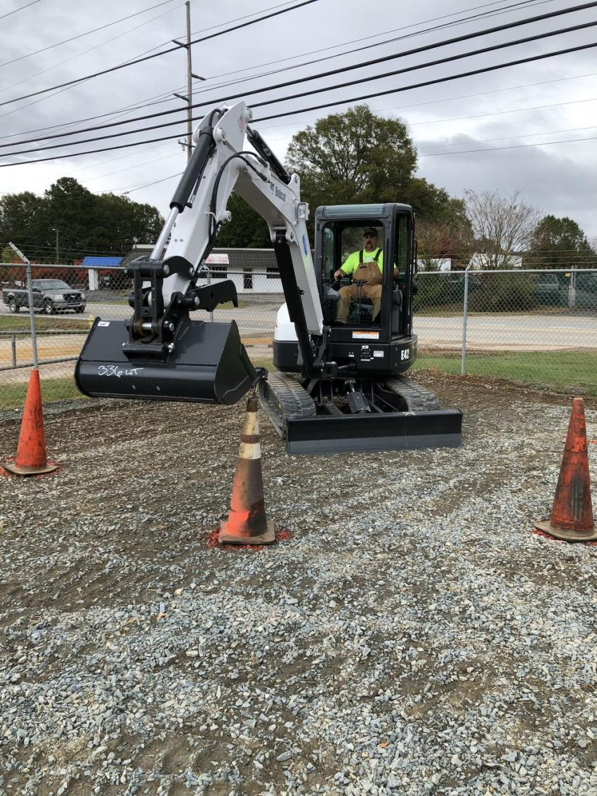 Casey Blackwelder, CT Blackwelder Land Management, Concord, N.C., scored well in the skills competition using the Bobcat E42 excavator.