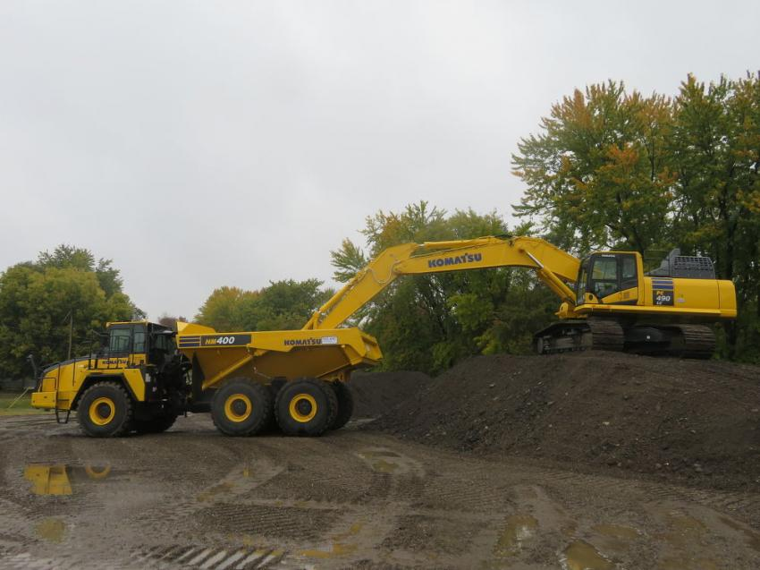 Roland Machinery Co. customers saw a wide range of Komatsu iron at the open house, such as this HM400 articulated truck and PC490 excavator.