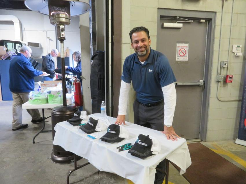Brain Corbett of H&R Construction Equipment Parts Inc., Buffalo, N.Y., was on hand to answer questions from customers at the open house.