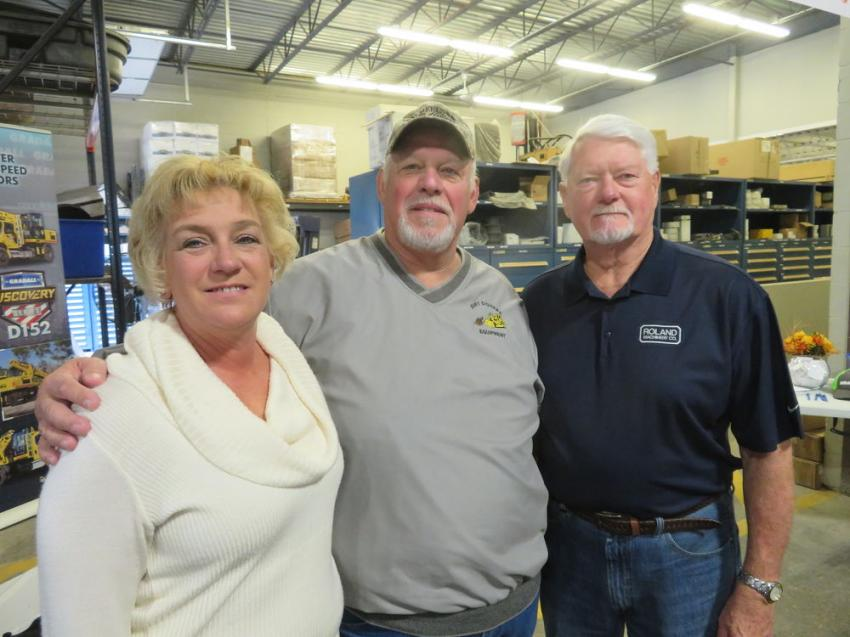 Old friends who took the opportunity to catch up at the open house (L-R) included Debbie and Neal McDowell of Dirt Diggers Equipment and Jerry Eastburn, a Roland Machinery Co. retiree.