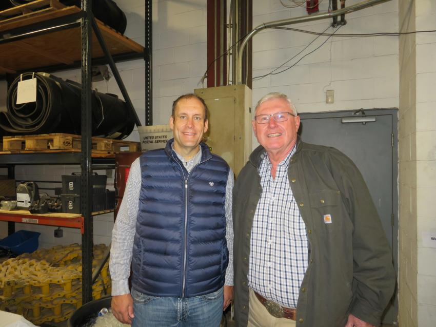 Chris Ingram (L), sales manager, Springfield Division, Roland Machinery Co., meets with customer Perry Broughton of P.H. Broughton & Sons.