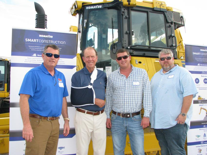 Customers and friends reuniting at the Plant City open house (L-R) included Chip Tucker, Tucker Paving, Winter Haven, Fla.; Ray Phillips, Linder Industrial Machinery; and Barrett Tucker and Patrick Braisted, also with Tucker Paving.