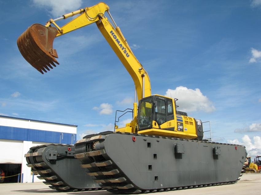 "Here's a machine you won't see at every open house — a ""pontoon excavator"" Komatsu PC240LC with amphibious hydraulic undercarriage. The machine was on display at Linder's Pembroke Pines facility."