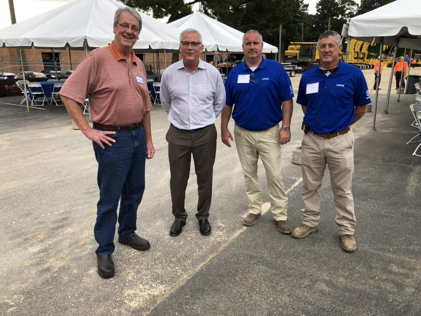 (L-R) are Don Clapp, Young Construction Company in Wake Forest, N.C.; and John Coughlin, Rob Leavel and Tom MacGibbon, all of Linder.