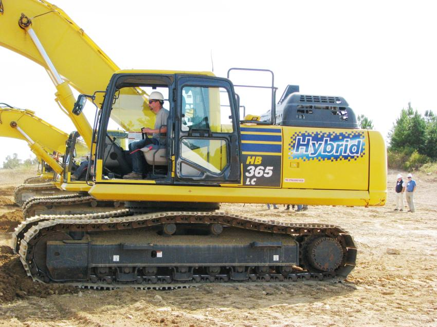 Getting a little test operation time on a Komatsu PC170LC excavator, a machine size that he is interested in putting into his rental fleet, is James Montgomery of JTB Rentals, Calhoun, La.