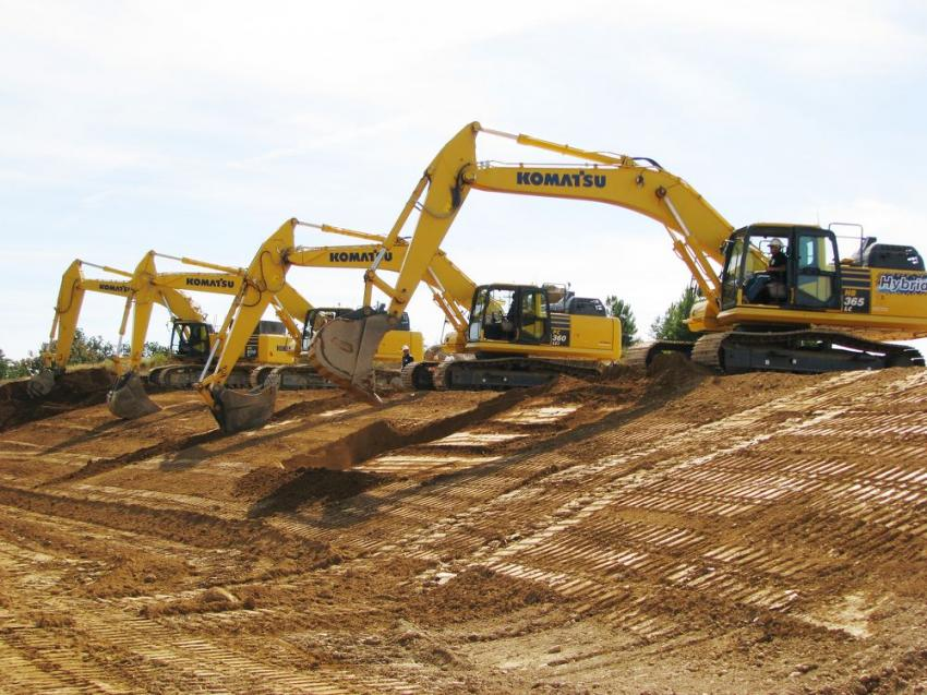Komatsu excavators of virtually any size were on site and ready to be operated.