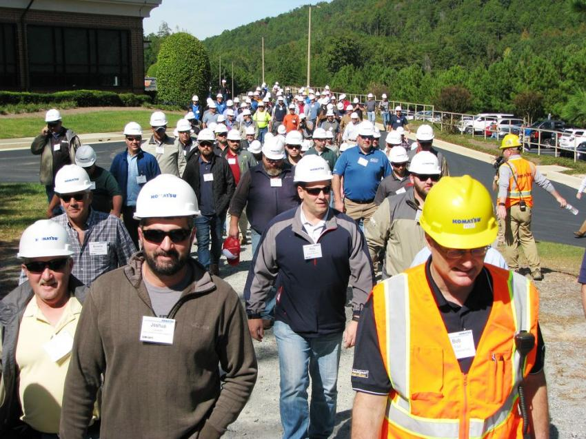 Attendees take the short walk from the customer center in Cartersville, Ga., to the demo site on Day two of the three-day event.