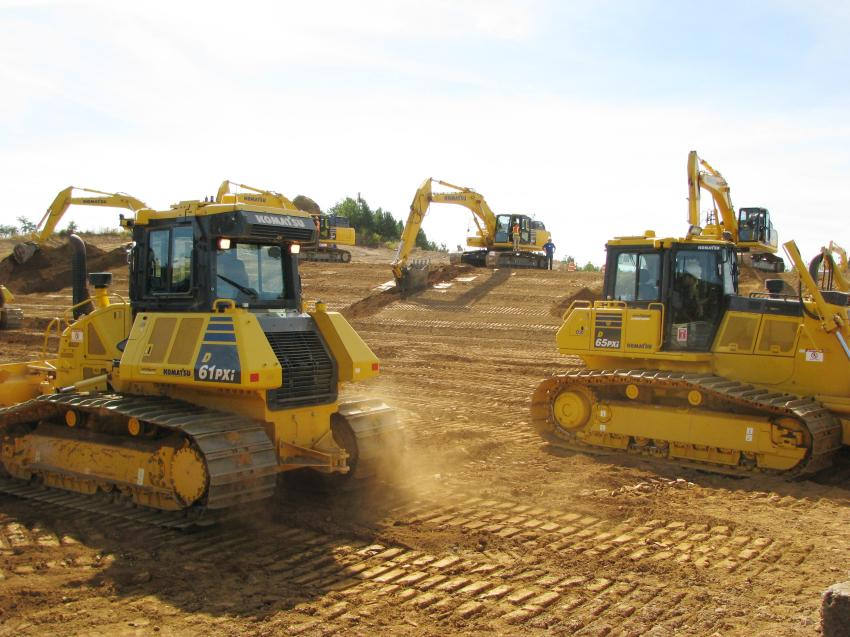 The Intelligent Machine Control dozers got quite a workout throughout the day.