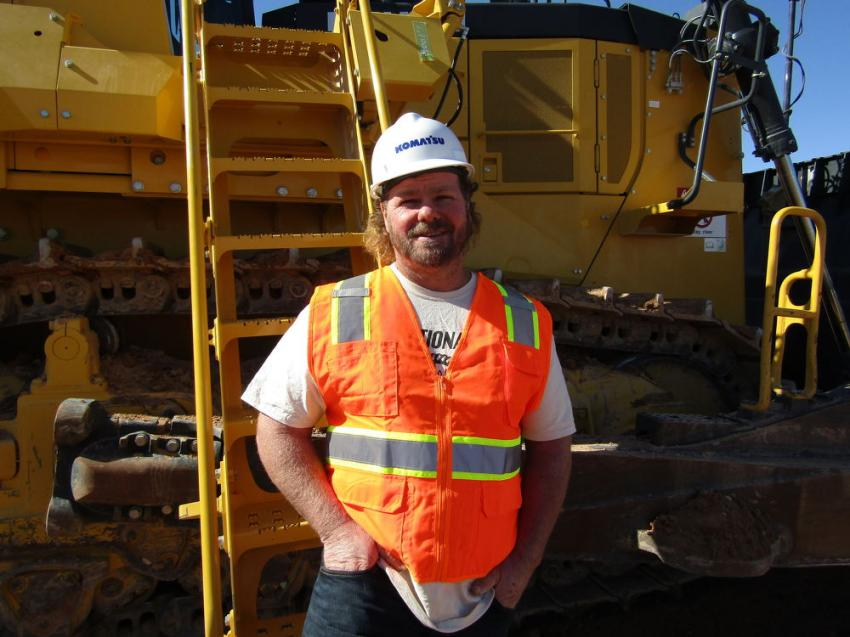 "Troy Bailey of TNT Construction based in Cedar City, Utah, attended the demo specifically to test out the intelligent machine control on this Komatsu D375A dozer. Bailey said, ""this was my first opportunity to test out these machines and I'm really impressed with the productivity and efficiency."""