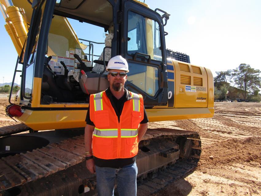 Kurt Cannon of Riverton, Utah, is ready to test this Komatsu PC210LCi excavator.