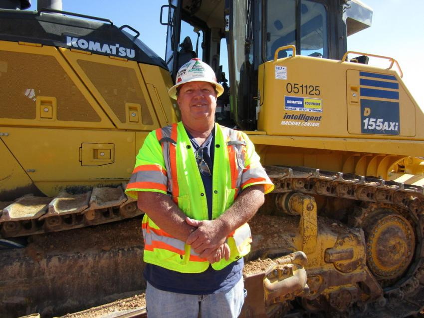 Bruce Waldron, of Smooth Stone Homes, headquartered in St. George, Utah, honed his operator skills on this Komatsu D155AXI dozer.