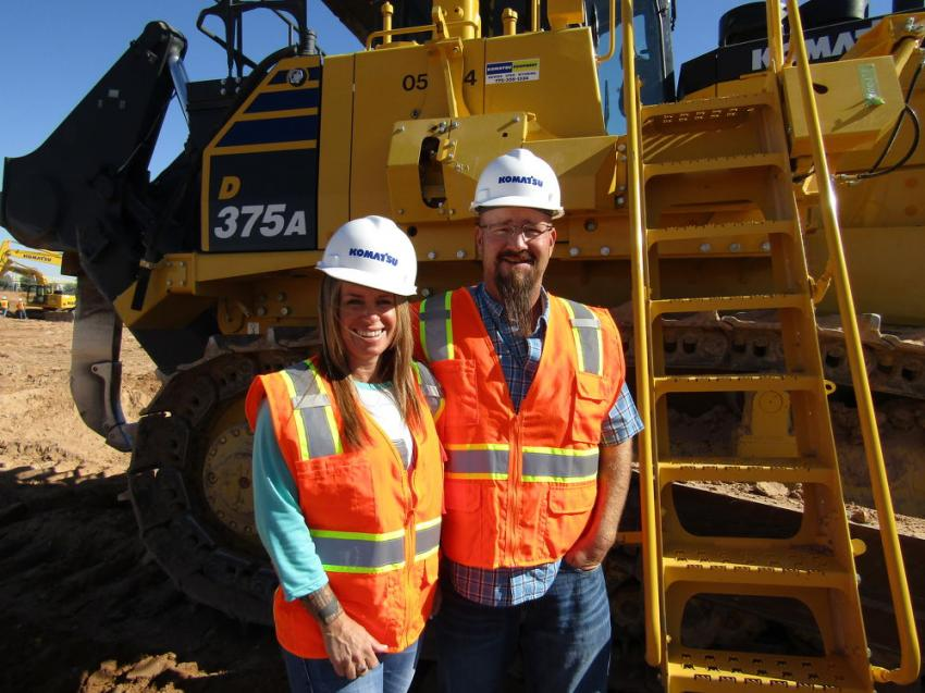 Husband and wife, Jared and Andrea Street of Desert Hills, Utah, came to test the Komatsu D155AXI but could not resist the power of this Komatsu D375A dozer equipped with aftermarket GPS.