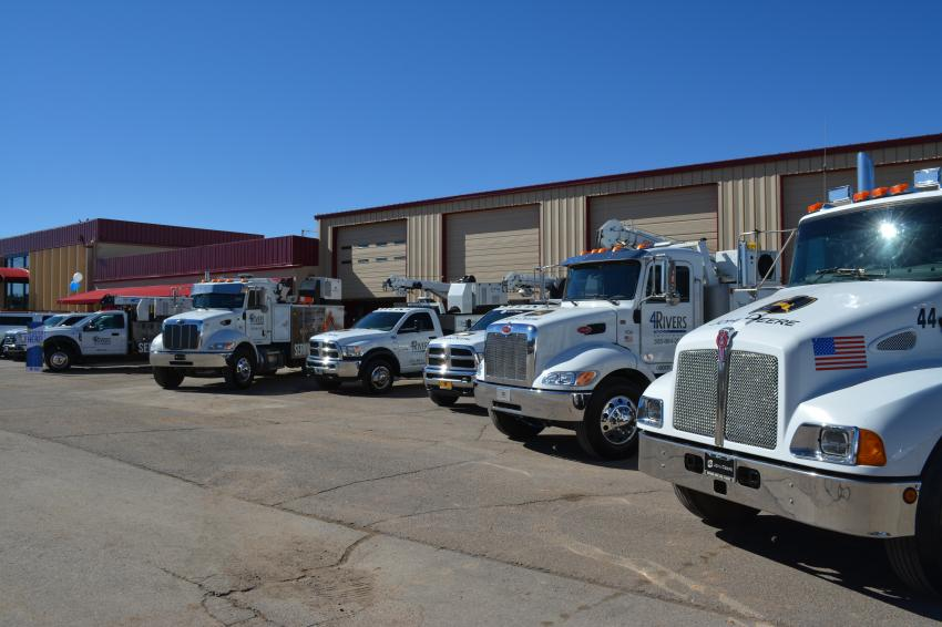 It's all about support. Service trucks are on display at the Albuquerque open house, reminding customers of 4Rivers' commitment to product support.