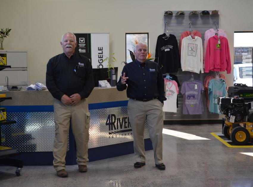 Keith Olson (R), CEO of 4Rivers Equipment, talks about the company's commitment to the Albuquerque, N.M., market at the facility's recent grand re-opening with John Snider, Albuquerque branch manager. 4Rivers is based in Greeley, Colo.