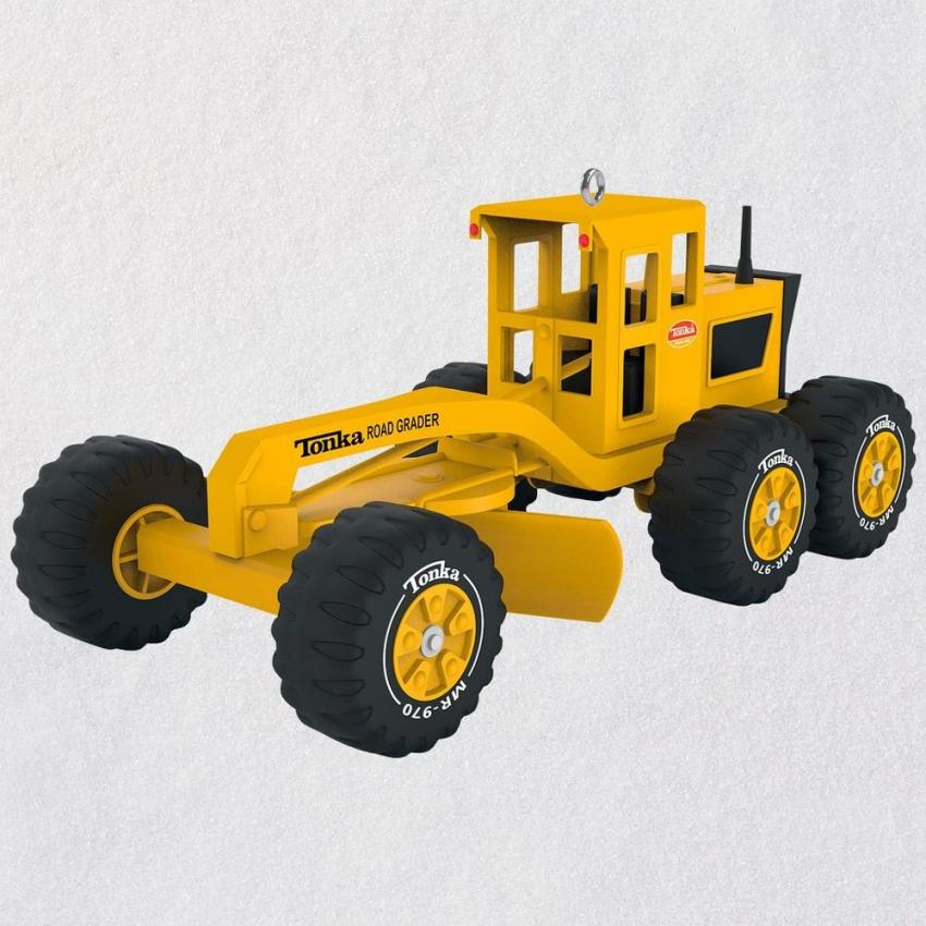 The perfect stocking stuffer, this Mighty Tonka Road Grader ornament is perfect for kids of all ages. The Hallmark Keepsake ornament comes in a decorative box, and measures 2 in. W  x 1.8 in. H x 4.24 in. D. $17.99.  https://bit.ly/2PFRo4a
