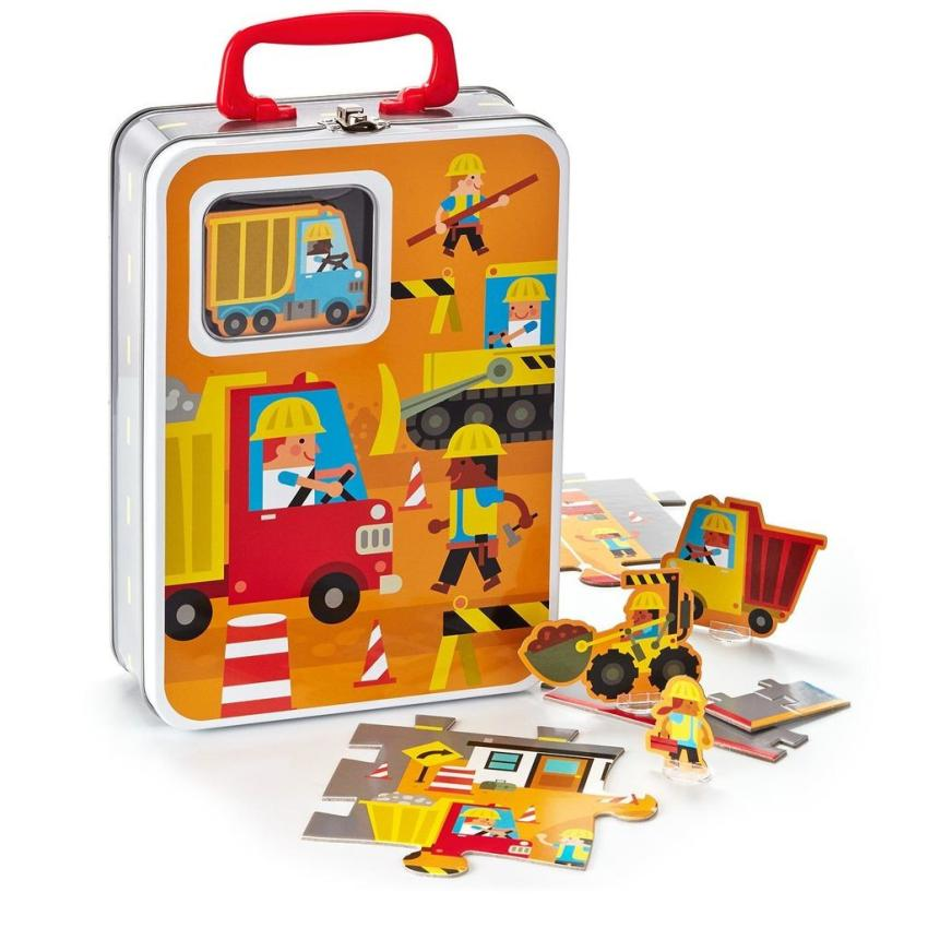 Kids ages 3 and up are sure to love this construction zone 36-piece puzzle by Connect & Play, which turns into a play mat with 10 play pieces for double the fun. When finished playing, little crew members can pack up their equipment in its carrying case until it's time for the next job to begin for $19.95. https://bit.ly/2DudeAy