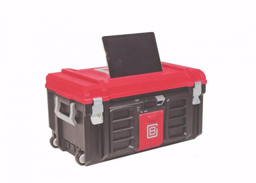 """Sure, the Coolbox makes carrying around your most-needed tools a breeze, but it also does so much more. Branded as """"the toolbox of the future,"""" it includes: an internal battery, wheels, an LED-display clock; a bottle opener; an 8-ft. AC extension cable; multiple AC and USB ports; water-resistant, marine-grade speakers; Bluetooth wireless connectivity; a detachable LED lamp; a custom Tablet stand; a white board and so much more, all for $349. https://www.coolbox.io/"""