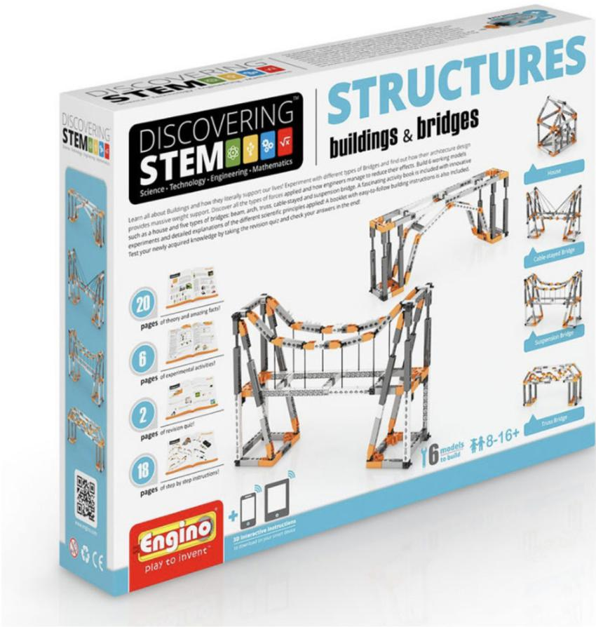 Aspiring engineers will be busy creating all sorts of structures with this STEM Structures: Buildings and Bridges set. Kids ages 8 to 16 can learn as they build with this kit, which includes a 38-page booklet with theory, quizzes, experiments and instructions to build 9 creations, including a house, a pyramid and a range of different bridges for $32.95. https://bit.ly/2Q4wmMh