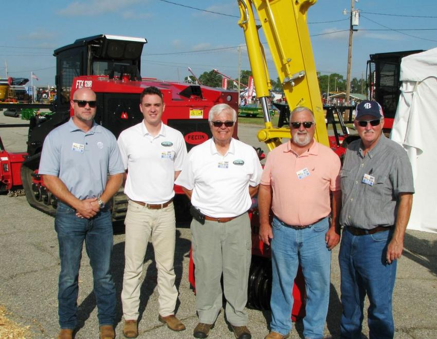 Local dealers and the manufacturer work together to promote the Fecon line of products. (L-R) are John Lake, Tractor & Equipment Co., Columbus, Ga.; Kyle Schofield and Frank Plotts, Fecon, Lebanon, Ohio; Bob Raley, Tractor & Equipment Co., Macon, Ga.; and Doug Haas, Tractor & Equipment Co., Albany, Ga.