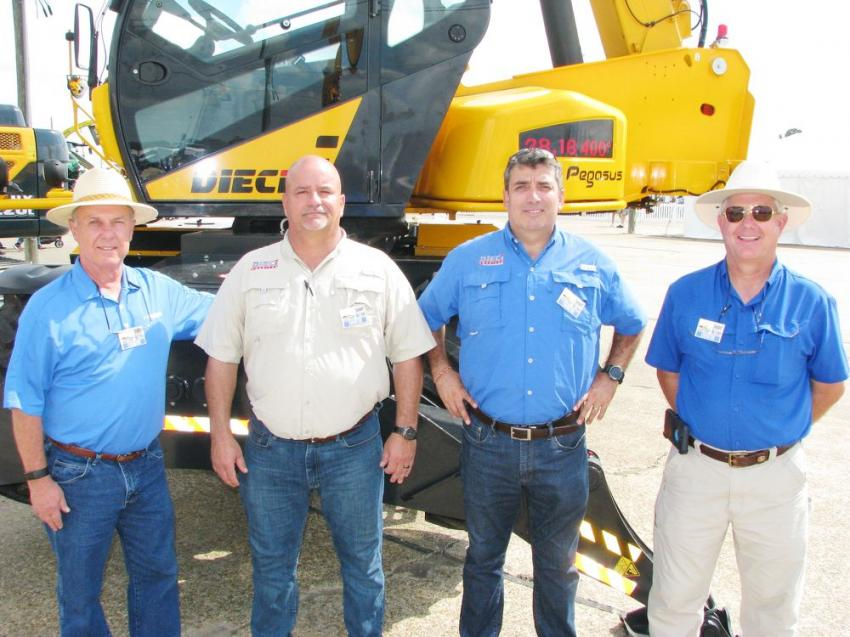 Situated right next to the Crosby equipment exhibit was the Dieci exhibit, which is another line that is represented by Crosby. (L-R) are David Crockett, Crosby Equipment; Kevin Cook and Jorge Salas, Dieci United States, Wyalusing, Pa.; and Jerome Crosby, owner of Crosby Equipment.