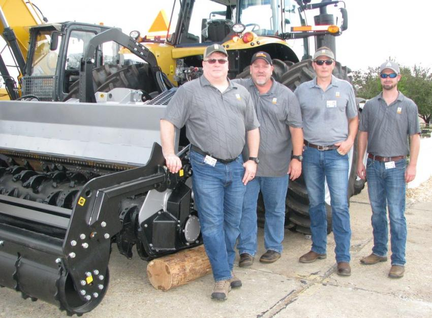 FAE USA brought a huge display of mulchers, tillers and grinders including the stout FAE SFM-250 forestry tiller (shown here) and FAE representatives including (L-R) Kurt Jackson, Lee Smith, Giorgio Carera and Kris Saylors.