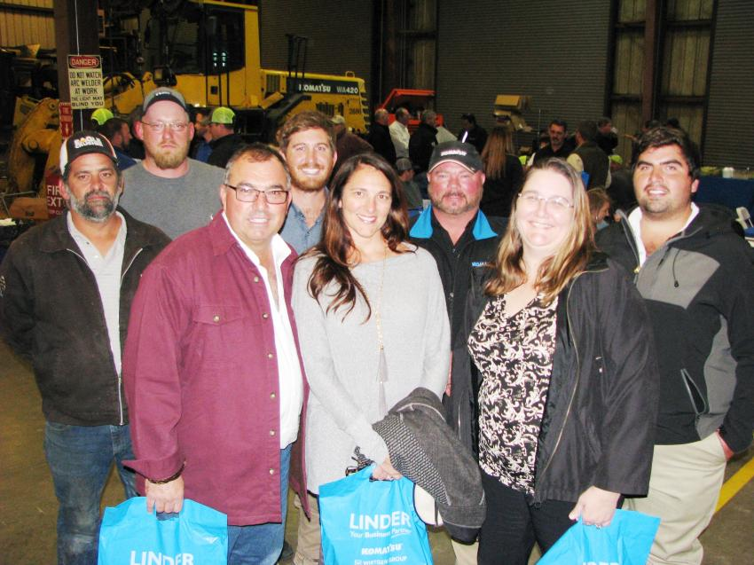 At the Jacksonville event, David Peacock (second from Right) of Linder Industrial Machinery meets a big group of customers from United Brothers Development Corporation in Jacksonville (L-R) including Phillip Feora, Caleb Tubbs, David Dostie, Lance Dostie, Heather Dostie, Denise Haller and Derek Dostie.