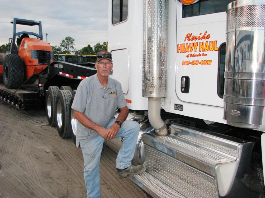 The man who does the majority of Linder's Orlando branch equipment hauling, Ron Foster of Florida Heavy Haul, Sanford, Fla., made it back with a delivery in time to be a part of the evening's festivities.