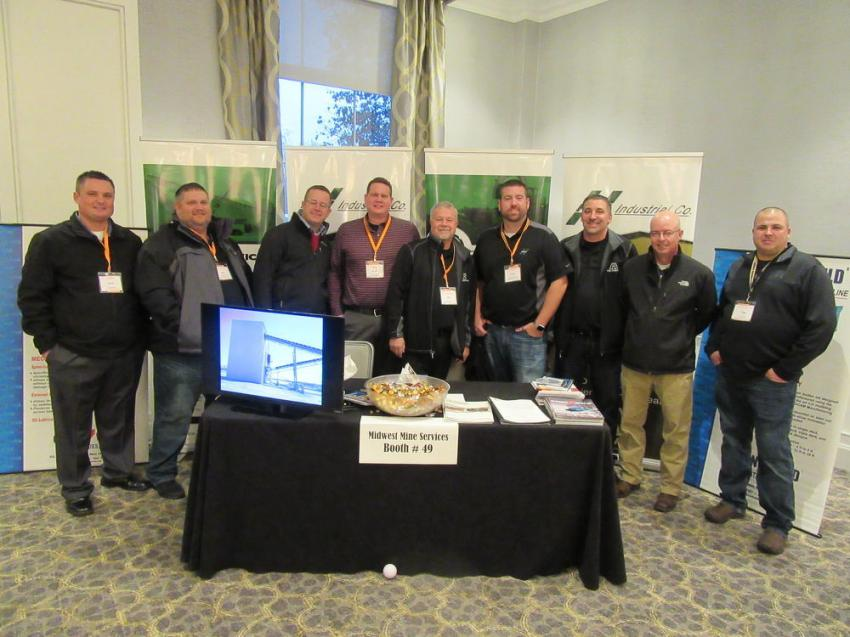 (L-R): Midwest Mine Services/Hall Industrial's Nick Barthel, Bob Keaton III, Tim Meighan, Ryan Keaton, Bob Keaton, Scott George, Jamie Logan, Mike Parsley and Tim Kidd were ready to discuss the equipment and services needs of attendees at the event.
